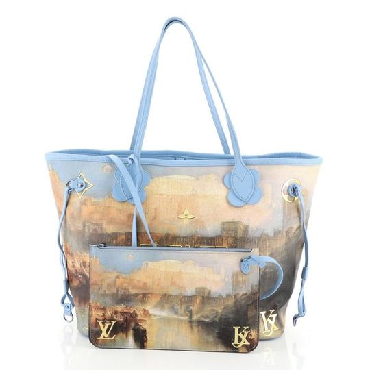 Louis Vuitton Neverfull Limited Edition Jeff Koons Turner Tote in Blue Image 3