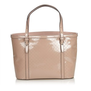 Gucci Monogram Gg Beige Leather Tote in Pink
