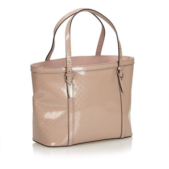 Gucci Monogram Gg Beige Leather Tote in Pink Image 1