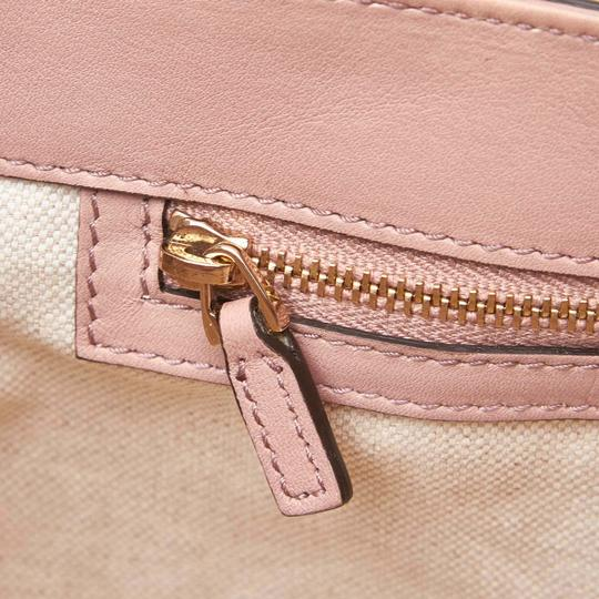 Gucci Monogram Gg Beige Leather Tote in Pink Image 10
