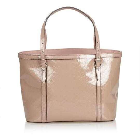 Gucci Monogram Gg Beige Leather Tote in Pink Image 2