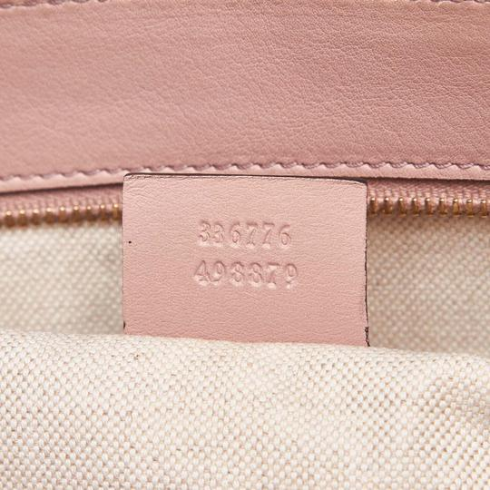 Gucci Monogram Gg Beige Leather Tote in Pink Image 9