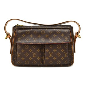 Louis Vuitton Monogram Pocket Flap Zipper Buckle Satchel in Brown
