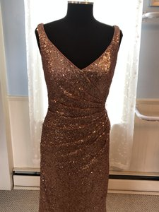 Alfred Angelo Rose Gold Sequin 8119l Traditional Bridesmaid/Mob Dress Size 10 (M)