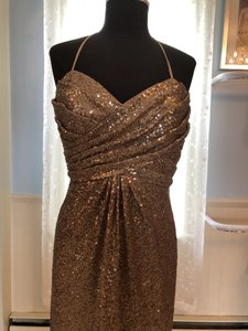 Alfred Angelo Gold Sequin 8114l Formal Bridesmaid/Mob Dress Size 10 (M)