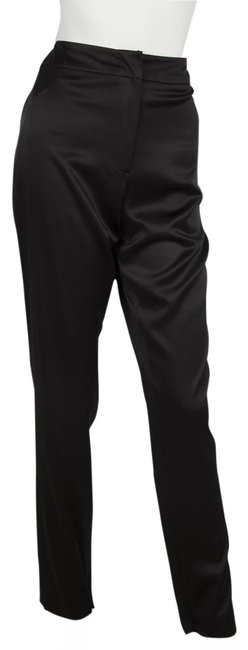 Item - Black Silk Mid-rise Straight-leg 42 Pants Size 8 (M, 29, 30)