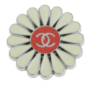 Chanel Authentic CHANEL CC Flower Motif Pin Brooch Silver Plated