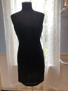 Alfred Angelo Black Sequin 8120s Formal Bridesmaid/Mob Dress Size 4 (S)