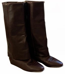 See by Chloé Foldover Metal Trim Almond Toe Hidden Wedge Supersoft Leather burgundy Boots