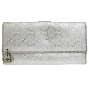 Gucci Authentic GUCCI GG Pattern Long Bifold Wallet Purse Leather Silver