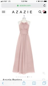 Azazie Dusty Rose Chiffon with Lace Regina New Traditional Bridesmaid/Mob Dress Size 6 (S)