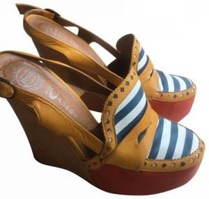 Jeffrey Campbell orange with multi color strap Wedges