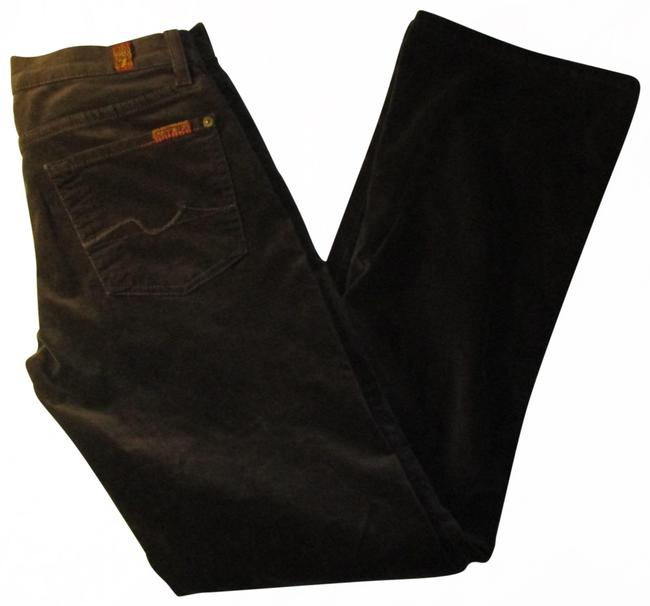 Item - Brown Dark Rinse Velvet 5 Pocket Stretch Straight Leg Jeans Size 24 (0, XS)