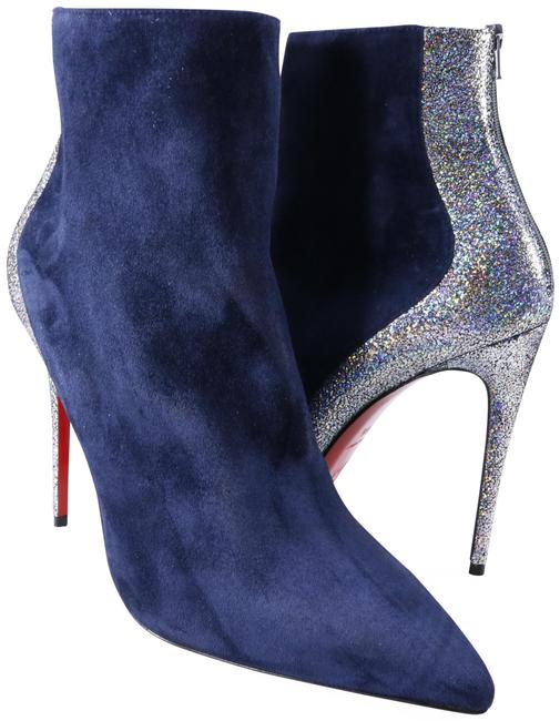 Item - Blue Delicotte 100mm Marine Iridescent Silver Mica C125 Boots/Booties Size EU 38.5 (Approx. US 8.5) Regular (M, B)