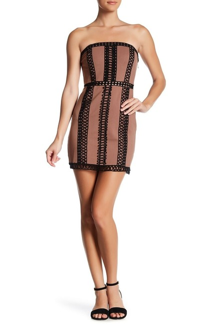 Item - Brown City Lights Embroidered Tube Black S Short Casual Dress Size 4 (S)