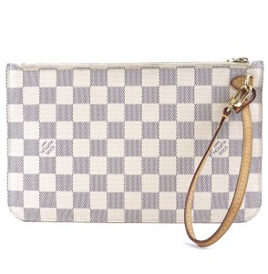 Louis Vuitton Damier Pochette Xi Wristlet For Neverfull White Grey Clutch