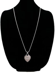Tiffany & Co. Tiffany & Co. 925 Sterling Silver Engraved Heart Tag Beaded Necklace