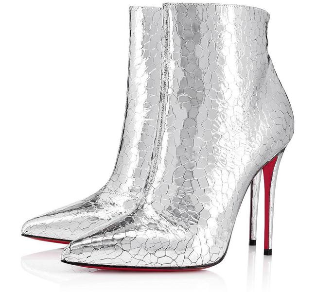 Item - Silver So Kate 100 Specchio Metallic Cracked C130 Boots/Booties Size EU 37 (Approx. US 7) Regular (M, B)