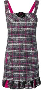 Chanel Tweed Check Camellia Wool Dress