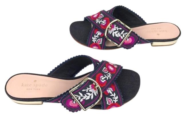 Item - Denim/Multi-color Embroidery Faris Slide Sandals Size US 6 Regular (M, B)