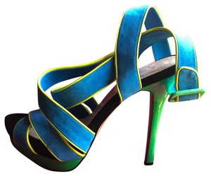 Jessica Simpson Turquoise, Yellow, Green and Black Platforms