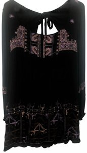 Free People short dress Black with multi colored embroidery on Tradesy