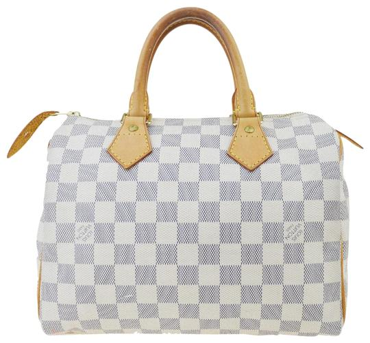 Preload https://img-static.tradesy.com/item/25977460/louis-vuitton-speedy-25-white-damier-azur-canvas-satchel-0-2-540-540.jpg
