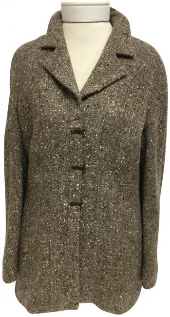 Item - Brown Light Tweed with Logo Front Closure Jacket Size 8 (M)