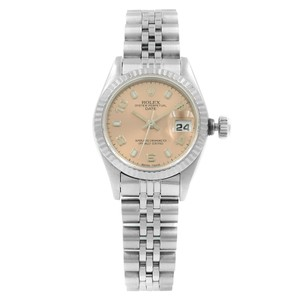 Rolex Date 69174 Salmon Dial 1995 Fluted Automatic Ladies Watch