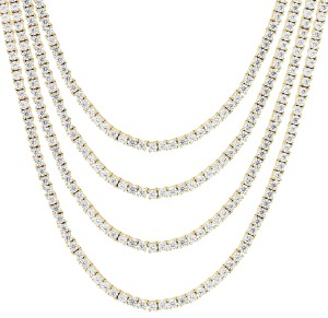 Master Of Bling Mens 10K Yellow Gold 1 Row Tennis Choker 2MM Chain Micro Necklace 20IN