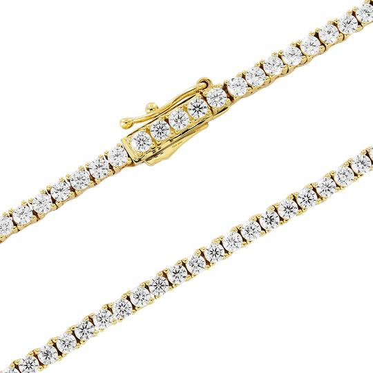 Master Of Bling Mens 10K Yellow Gold 1 Row Tennis Choker 2MM Chain Micro Necklace 20IN Image 2