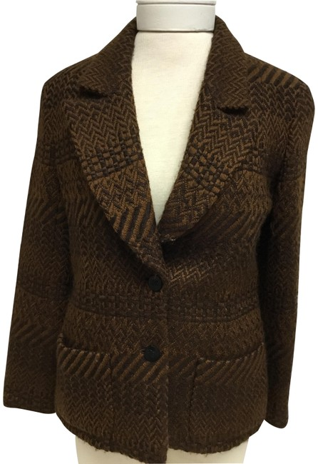 Item - Brown And Tobacco Tweed with Logo Buttons Jacket Size 6 (S)