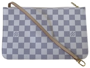Louis Vuitton Wristlet in Multi ( Damier Azur / Beige )