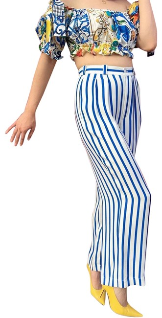Item - Blue White Made In Italy Striped Trousers Pants Size 6 (S, 28)