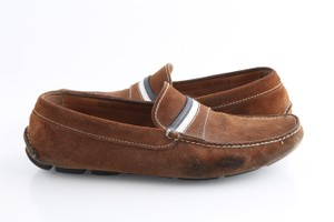 Prada Brown Stripe Suede Loafers Shoes
