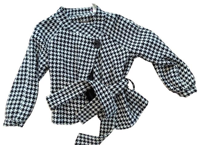 Item - Black White Jacket Small Checkered Cropped Button Coat Size 4 (S)