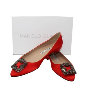 Manolo Blahnik Embellished Red Mules