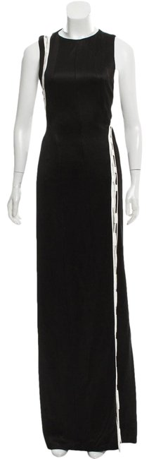 Item - Black White Jersey Laced Two Tone Gown Long Formal Dress Size 4 (S)