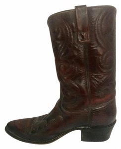 Acme Cowboy Leather Burgundy Boots