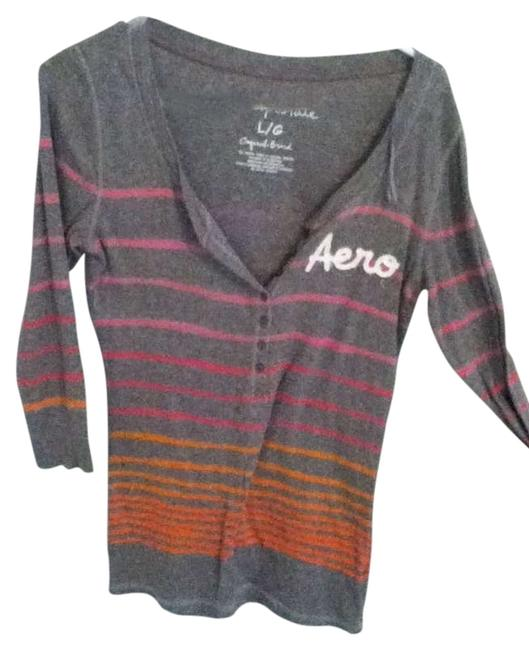 Aeropostale T Shirt Gray with pink and orange stripes
