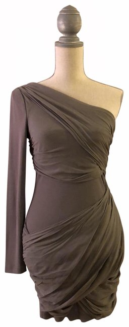 Item - Gray One-shoulder Short Night Out Dress Size 4 (S)