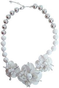 Kate Spade Kate Spade New White Flower & Silver Bead Necklace