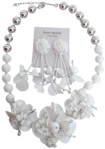 Kate Spade Kate Spade New White Flower and Silver Bead Necklace & Earrings
