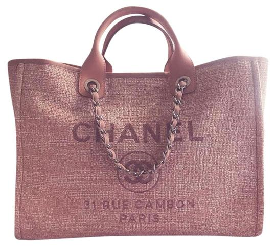 Preload https://img-static.tradesy.com/item/25978630/chanel-deauville-pink-canvas-and-leather-tote-0-1-540-540.jpg