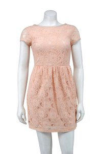 H&M short dress Peach Floral Lace Scoop Zipper on Tradesy