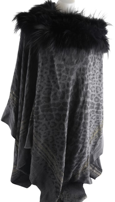 Item - Gray/Black Fur-trim Wool-blend Poncho Scarf/Wrap