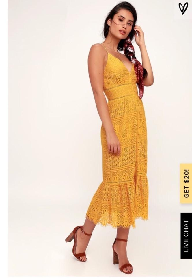 Lulus Mustard Yellow Robyn Lace Button Up Midi Mid Length Short Casual Dress Size 4 S