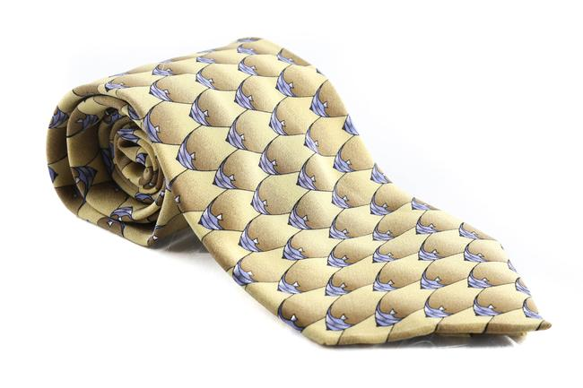 Hermès Yellow/Gold Tropical Fish Silk Tie/Bowtie Hermès Yellow/Gold Tropical Fish Silk Tie/Bowtie Image 1