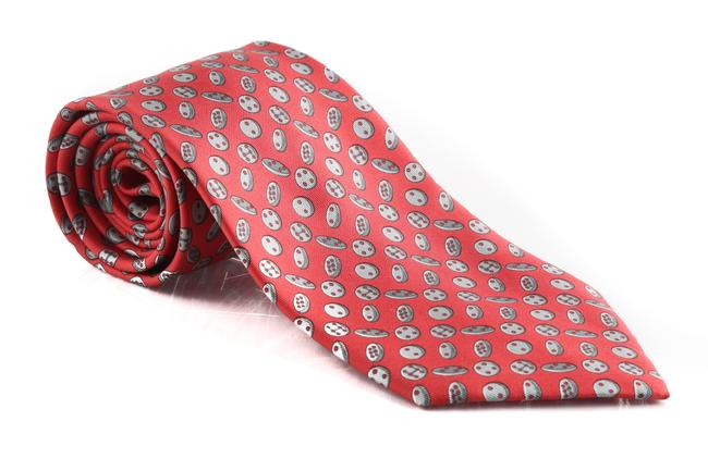 Item - Red Button Patterned Tie/Bowtie