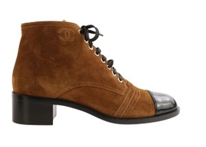 Chanel Suede Patent Leather Leather Gold Hardware Brown Boots